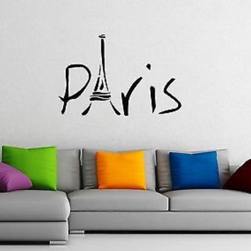 Wall Stickers Vinyl Decal Paris Eiffel Tower France Travel Cool Decor  z1574