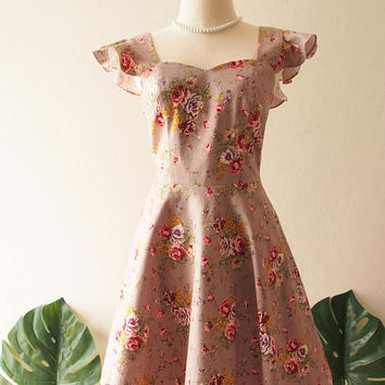 OLIVIA - Size XS- Swing Dance Dress Beige Gray Floral Dress Vintage Inspired Rustic Wedding Party Dress Ready to Ship Christmas Gift