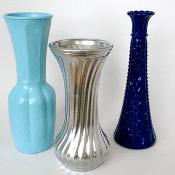 FREE SHIPPING--Vintage repurposed light blue, blue, and silver glass vases--upcycled, shabby chic, baby blue, powder blue