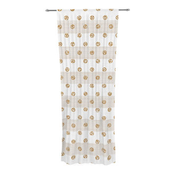 "Pellerina Design ""Linen Polka Stripes"" Gold Dots Decorative Sheer Curtain"