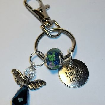 "Midnight Blue Crystal Angel & ""Live Laugh Love"" Charm Artisan Crafted Key Chain"