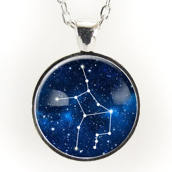 Virgo Constellation Necklace, Astrology Zodiac Pendant