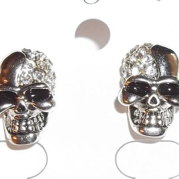 "Grinning Skull Silver Plated Goth Rocker Halloween Crystal Encrusted 3/4"" Stud Back Earrings"