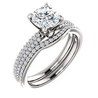 Moissanite Engagement Ring| Diamonds| White Gold Yellow Gold Rose Gold Platinum| Modern Bridal