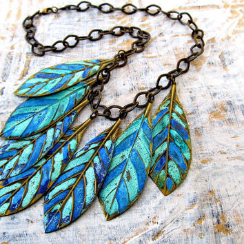 Leaf bib necklace blue statement necklace patina bohemian necklace bohemian jewelry
