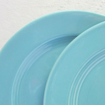Vintage Blue Harlequin Plates Set of Aqua Turqouise  Luncheon Plates Homer Laughlin China Fiestaware Riveriaware Dinner Plates