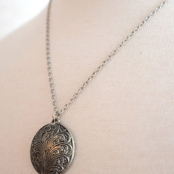 Round Ornate Antiqued Silver Necklace, Stainless Steel Necklace, Stainless Chain, Pewter Pendant, Gift under 30