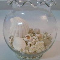 Beta/Gold Fish Bowl With Scalloped Edges And Natural Seashells - Beach decor - Home Decor
