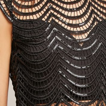 Scalloped Sequin Crop Top