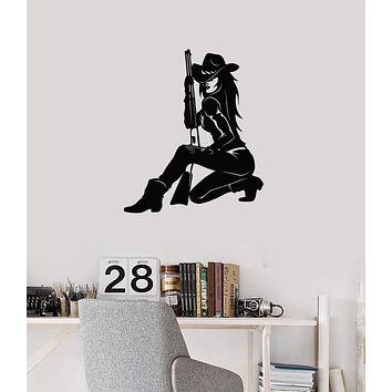 Vinyl Wall Decal Cowgirl with Gun Wild West Room Decor Art Stickers Mural (ig5641)