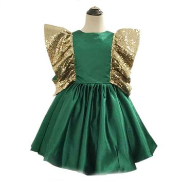 Bow Little Girl Evening Dresses Green Satin Ball Gown