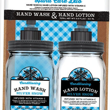 Hand Care Cuo Wash Lotion Infused with Vitamin C Silver Snow Mason Jar Box Set 16 fl oz