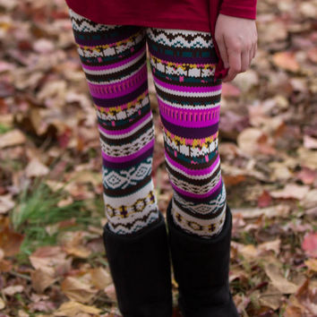 Kids-Turn Back Time Leggings-Purple