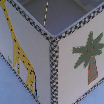 Child Nursery Lampshade/Natural/Animal/Elephant, Giraffe, Palm Tree/Off White/ Black Gingham/Yellow, Gray, Green/ Organic Ribbon/Rectangle