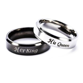 316L Stainless Steel His Queen And Her King Couple Rings For Lovers
