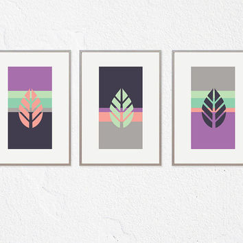 Modern leaf Art deco Wall Art, Lavender Color Artwork Set of 3, Trio Prints WALL Decor Abstract ART Living Room Dining Room Bathroom Bedroom