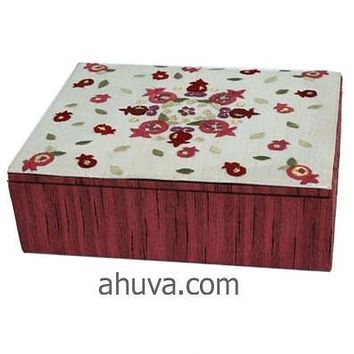Pomegranates Red Embroidered Jewelry Box