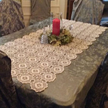 "Hand Crocheted Filet Table Topper. 59""× 26"". Beautiful for your Easter or Passover Table. Really Stunning."