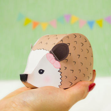 Printable Hedgehog Giftboxes, Woodland Party Favor, Baby Shower Favor