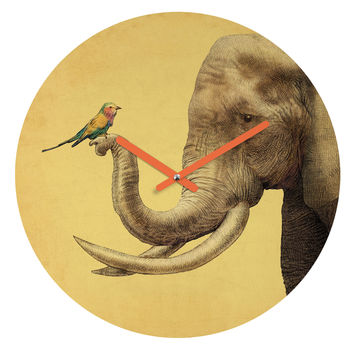 Eric Fan Elephant And Bird Round Clock