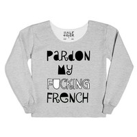 Pardon My French-Female Heather Grey T-Shirt