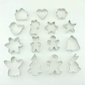 kuki-fun 15pcs Metal Cookie Cutters Christmas Biscuit Mold Fondant Cake Decorating Tools
