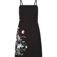 Black Bird and Floral Embroidered Slip Dress | New Look