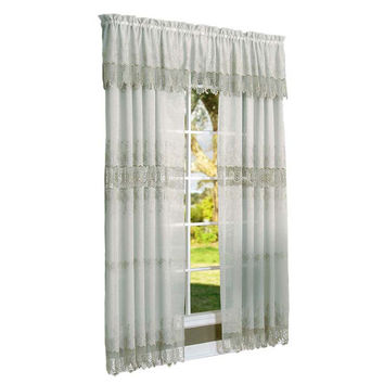 Habitat Annamaria Faux Linen Macrame Tailored Curtain Panel Off White