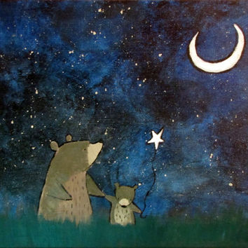 Storybook Starry Night Cute Bears Original Painting, Kids Wall Art Nursery Decor, Original Illustration, Moon and Stars