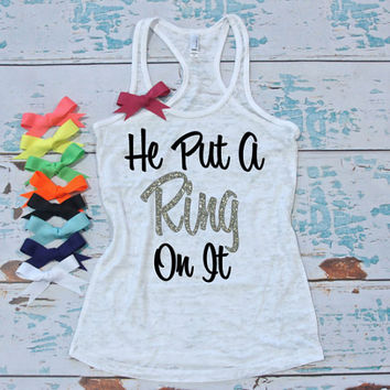 Engagement burnout tank top with bow. S-2XL. Just Engaged shirt. Wedding tank top with bow. Bride shirt. Engagement gift.