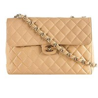 Chanel Vintage Classic 2.55 Quilted Caviar Leather Maxi Flap Shoulder Handbag