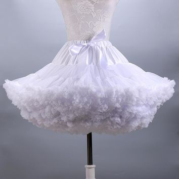 Fluffy Women's Tutu Skirt Adult Tulle Short Petticoat with Ruffles 12 Colors