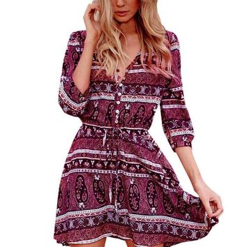 Vintage Half Sleeve Boho Dress