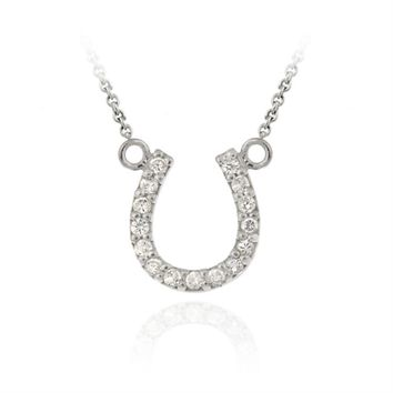 Sterling Silver Designer-Inspired CZ Horseshoe Necklace