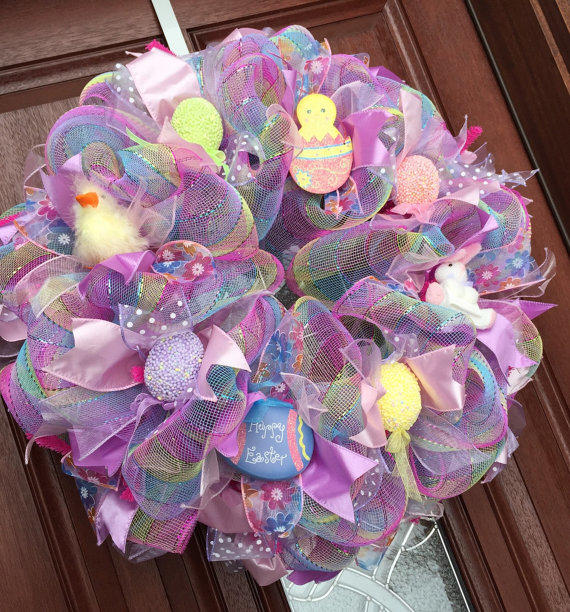 Easter Wreath Deco Mesh Spring Wreath From What S On Your