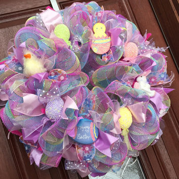 Easter Wreath - Deco Mesh Spring Wreath - Easter Decor - Easter bunny Easter Egg