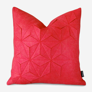 Geometric Felt Pillow Cover – Strawberry