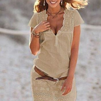 Casual Khaki Patchwork Lace Buttons Short Sleeve Fashion Mini Dress