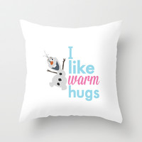 i like warm hugs smiling olaf.. frozen Throw Pillow by studiomarshallarts