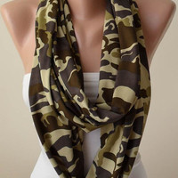 New - Mother's Day Gift  - Jersey Fabric Infinity Scarf -  Chiffon Fabric - Army Colors