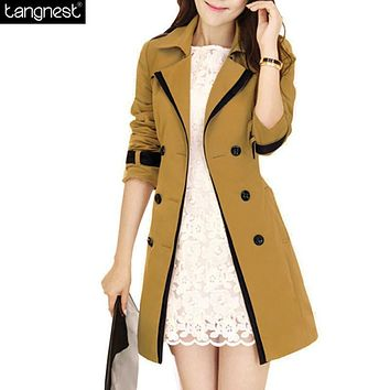 TANGNEST Trench Coat For Women 2017 Fashion Turn Down Collar Windbreaker Double Breasted Patchwork Belt Vintage Trench WWF359