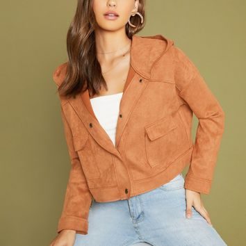 Button Front Hooded Faux Suede Jacket