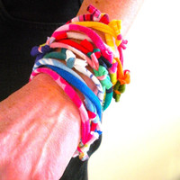 Rainbow Colors Stacking Bracelets Upcycled Urban Nomad Fiber Cuff Multicolor Knotty Bits Bracelet Gifts Under 25