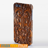 Wood Carving iPhone 4/4S, 5/5S, 5C Series Full Wrap Case