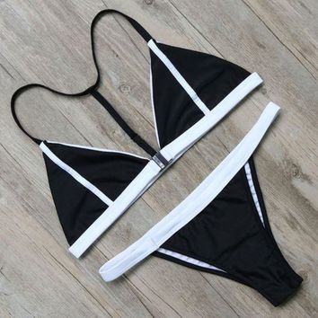 DCCKUNT Women's Two Piece Triangle Bikini Set Swimwear In Black & White