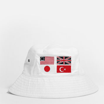 Four-Flag Bucket Hat in Off-White