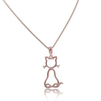 Rose Gold Tone Sterling Silver Kitty Cat Necklace 18""