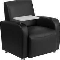 Flash Furniture Black Leather Guest Chair with Tablet Arm Chrome Legs