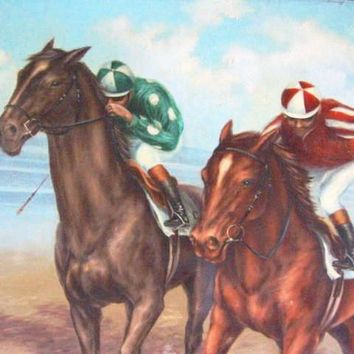 Polo Game De Voe Equestrian Horses Riders Oil On Canvas