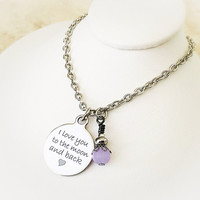 Stainless Steel Necklace - I Love You to The Moon and Back - Long Distance Relationship - Daughter Gift - Mom Jewelry - Valentines